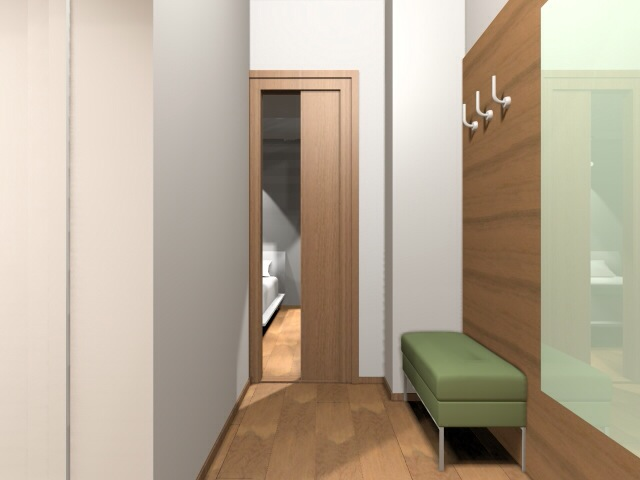 előszoba egy kis lakásban